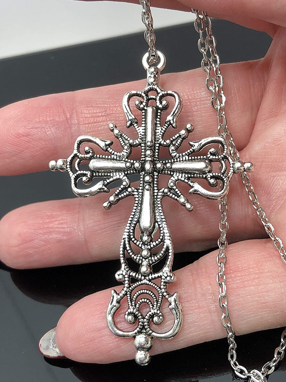 Antique Silver Tone Filigree Pendant Large Ornate Gothic Crucifix Pendant