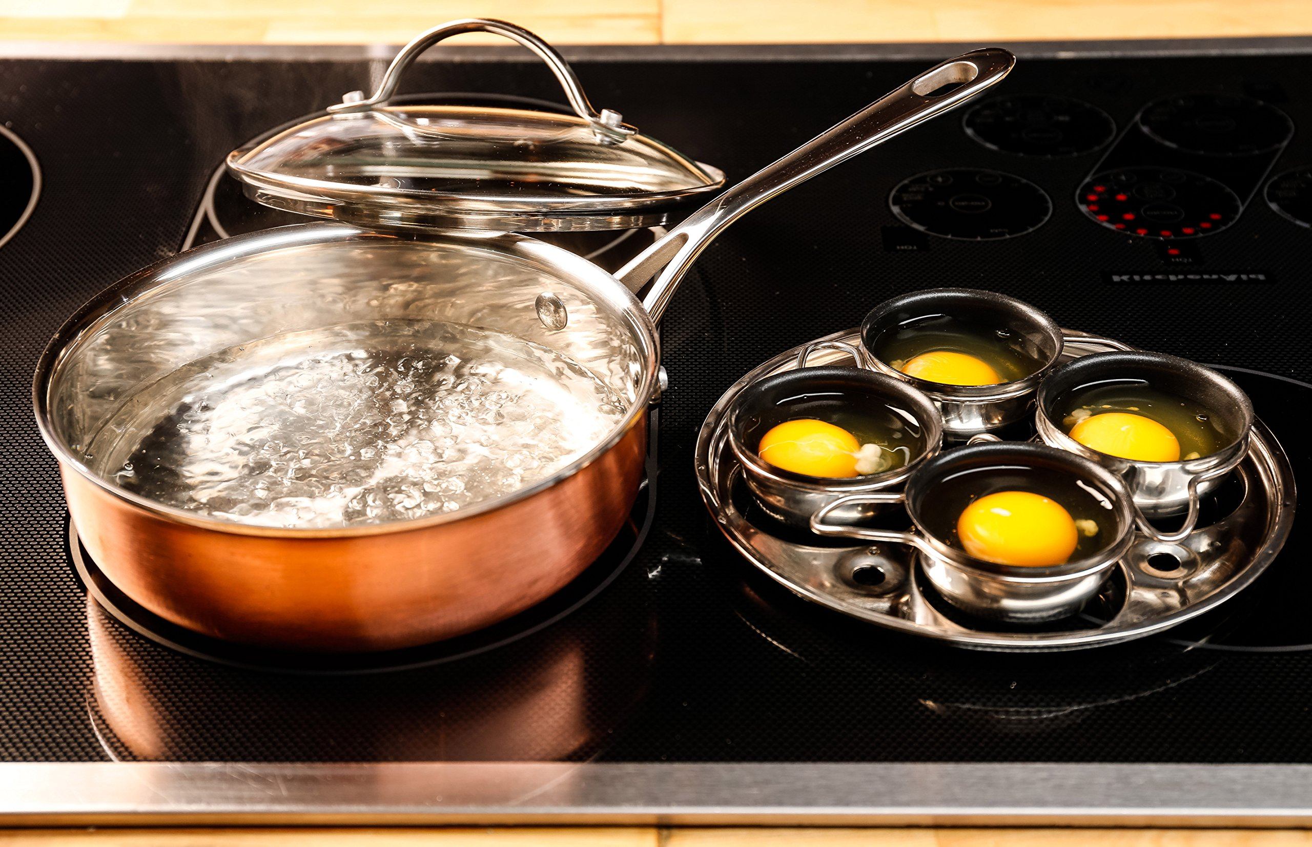 ExcelSteel 4 Cup Stainless Steel Tri-Ply, Copper, Aluminum, Stainless Steel Egg Poacher and 7'' Fry Pan by ExcelSteel