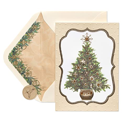 papyrus elegant gem christmas tree christmas cards boxed with cream envelopes 8 count