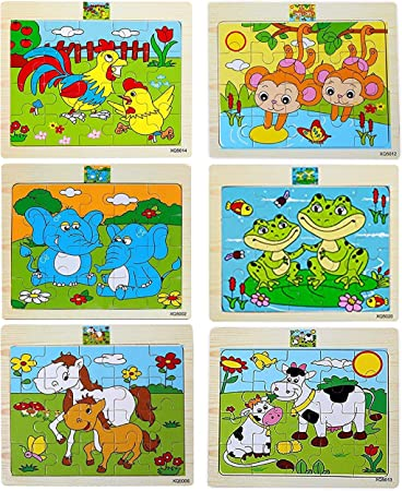 Simple Days Cartoon Animals Wooden Jigsaw Puzzles for Kids - 20 Pcs Different Patterns in A Frame Board (Set of 6 Puzzles)