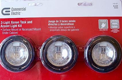 Commercial Electric 3-Light Under Cabinet Black Puck Kit