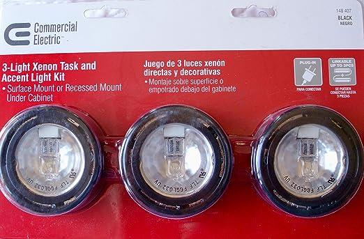 Exceptionnel Amazon.com: Commercial Electric 3 Light Under Cabinet Black Puck Kit: Home  U0026 Kitchen