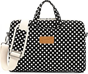Canvaslife Black dot Pattern 15 inch Waterproof Laptop Shoulder Messenger Bag Case with Rebound Bubble Protection for 14 inch-15.6 inch Laptop 15 Case Bag