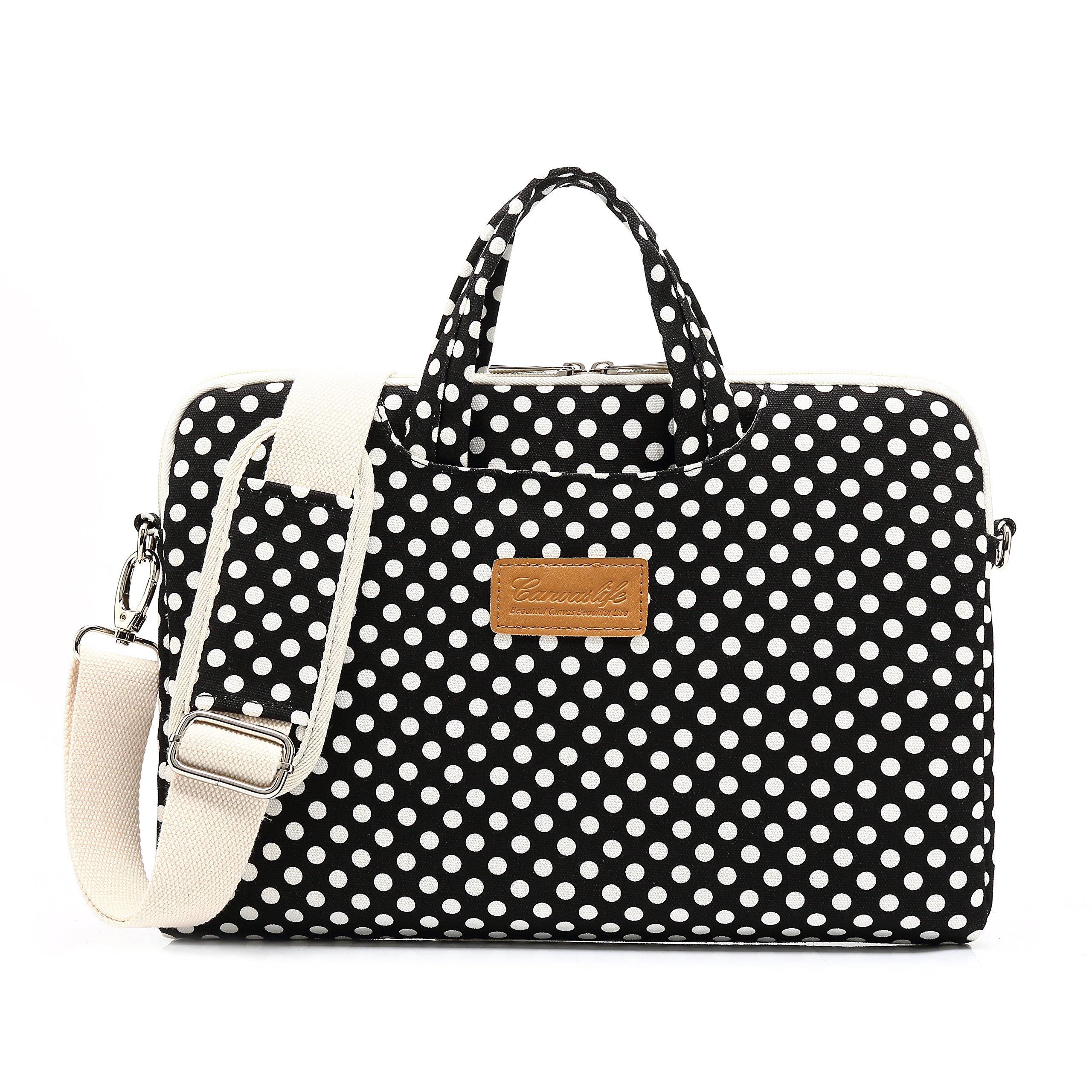 Canvaslife Black dot Patten Waterproof Laptop Shoulder Messenger Bag Case Sleeve for 12 Inch 13 Inch Laptop and 11/12/13