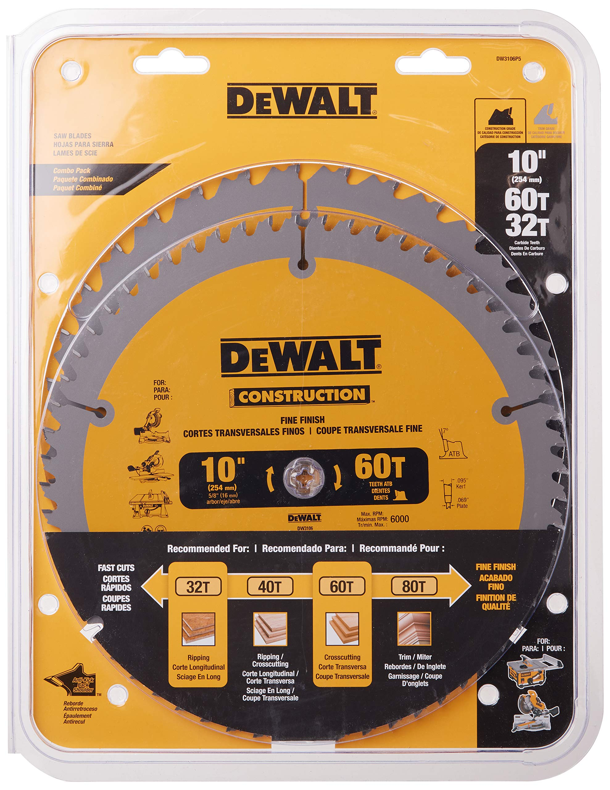 DEWALT 10-Inch Miter / Table Saw Blades, 60-Tooth Crosscutting & 32-Tooth General Purpose, Combo Pack (DW3106P5)
