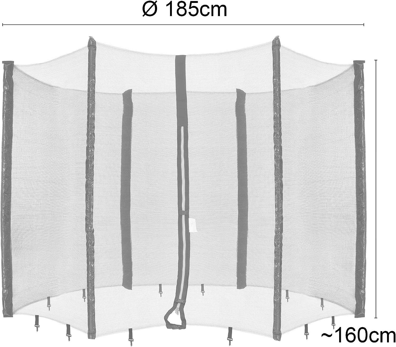 /à Mailles serr/ées 6 poteaux r/ésistant aux intemp/éries /Ø 185 cm R/ésistant aux UV Arebos Filet de s/écurit/é pour Trampolines Filet de s/écurit/é verrouillable