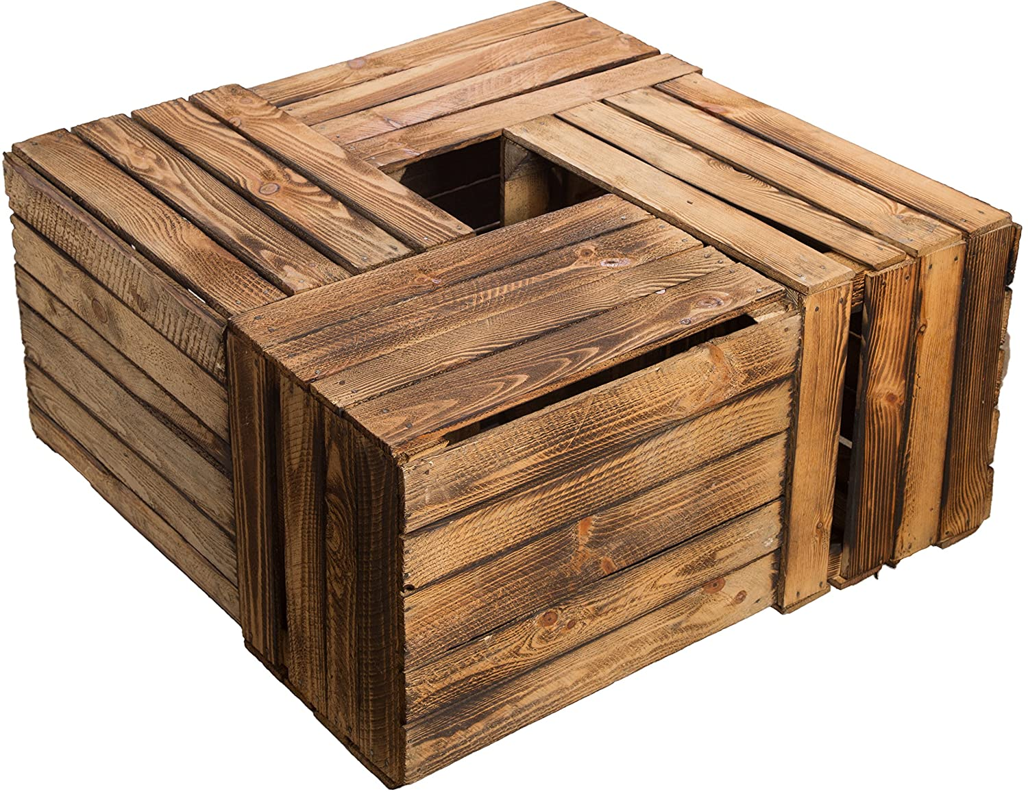 4 pcs flambierte / Flame Fruit Crate Schultz (BF) 49 x 39 x 29 CM / Apfelkisten produce wine boxes from the Old Countryside