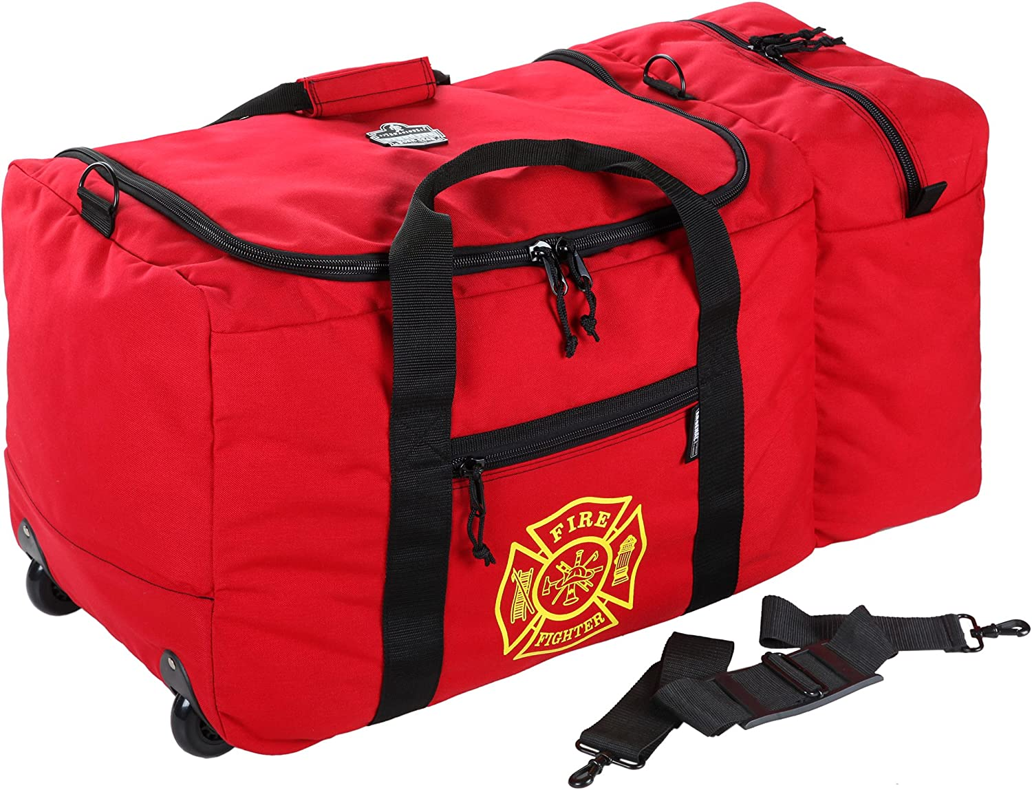 B00075M6HI Ergodyne Arsenal 5005W Large Nylon Rolling Firefighter Rescue Turnout Fire Gear Bag with Shoulder Strap and Helmet Pocket 916qf5YcV8L