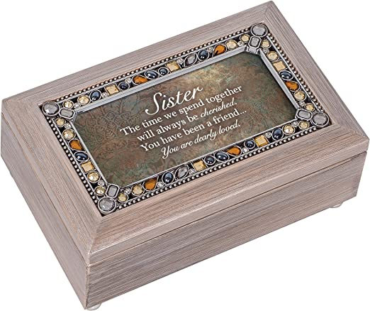 Cottage Garden Sister Cherished Loved Pewter Jewel Beaded Petite Music Box Plays You Light Up My Life