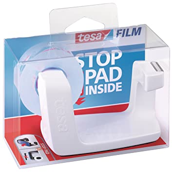 Tesa Easy Cut Frame 53840-00000-00 - Dispensador de cinta adhesiva (1 rollo, 33 m x 19 mm), color blanco: Amazon.es: Oficina y papelería