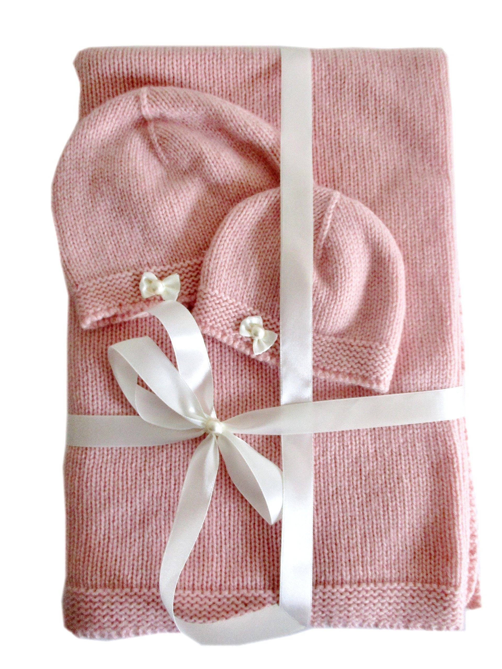 Frost Hats Cashmere Baby Blanket and Hats Set Little Bows Pink