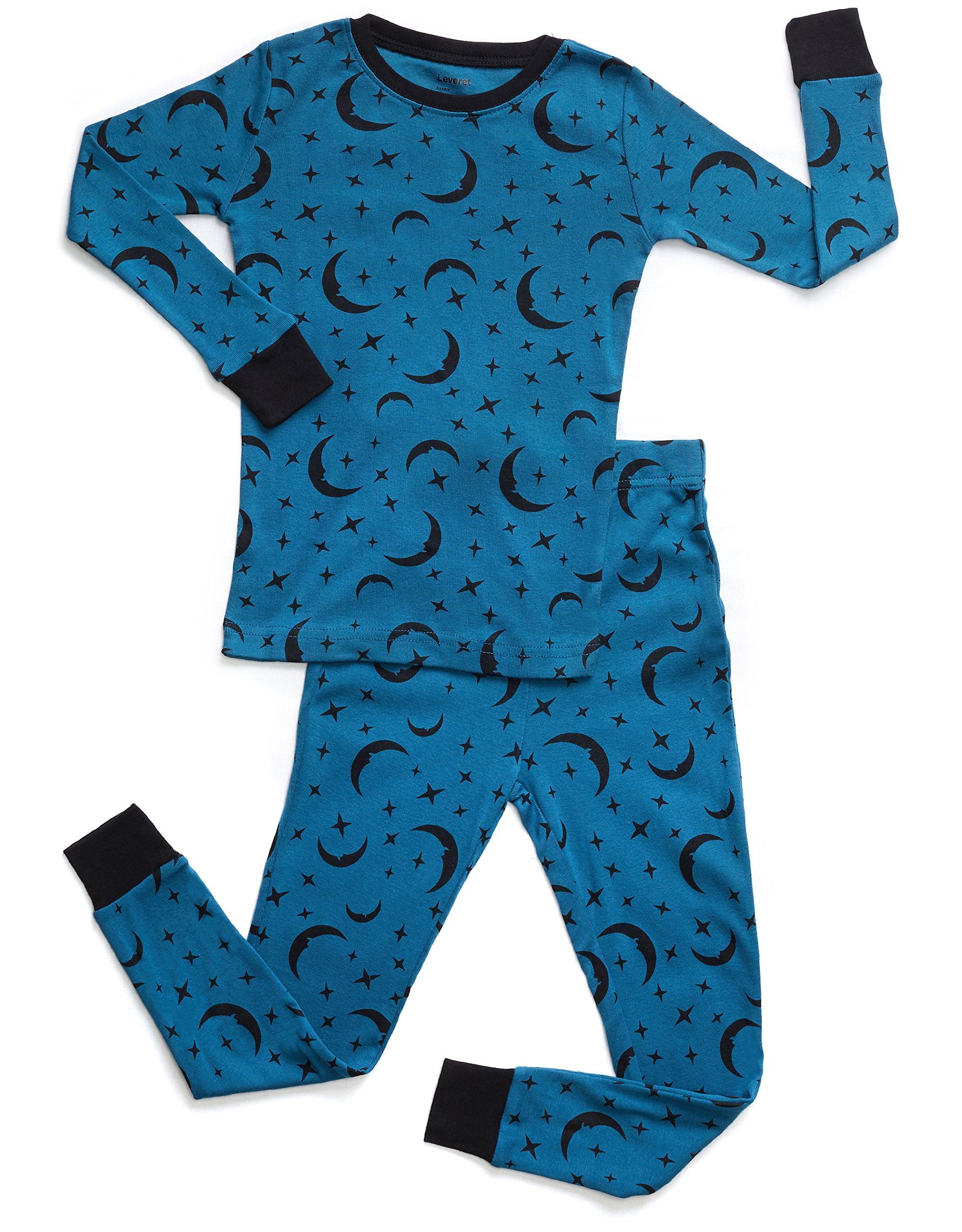 Leveret Organic Cotton Moon 2 Piece Pajama Set 5 Years