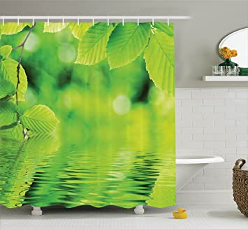 Leaves Decor Shower Curtain Set by Ambesonne, Leaves in the Water Spa Open  Your Chakra