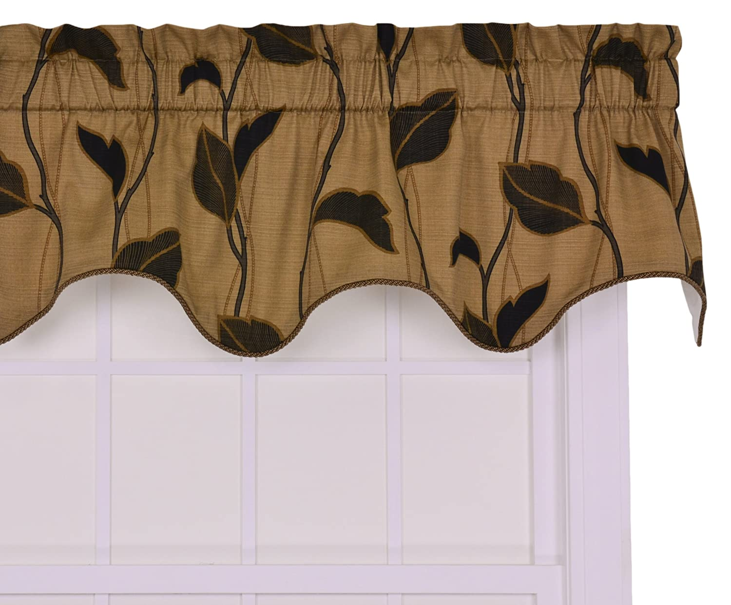 Ellis Curtain Riviera Large Scale Leaf and Vine Lined Duchess Filler Valance Window Curtain, Coffee