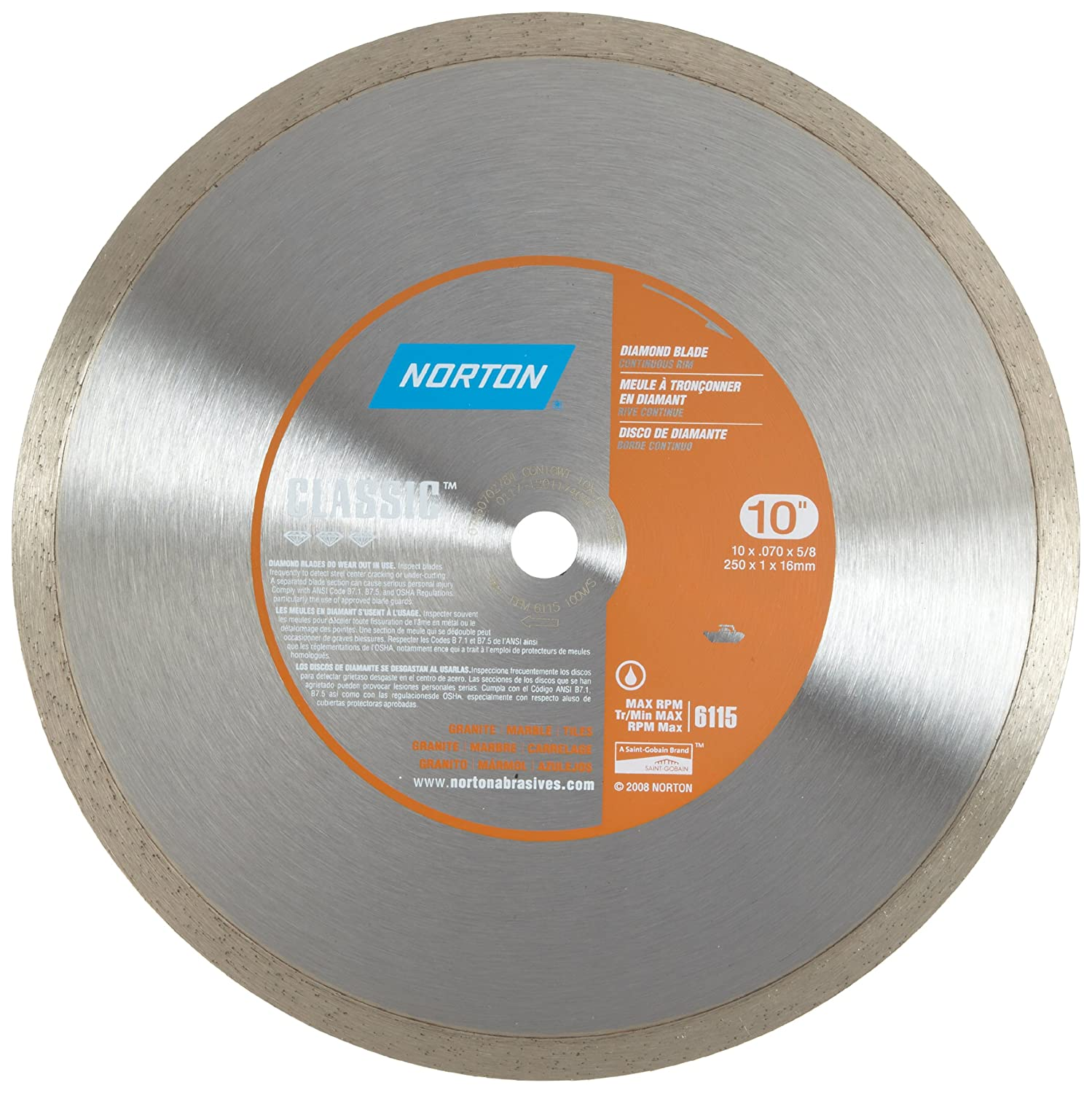 Norton 2784 10 inch dry or wet cutting continuous rim diamond saw norton 2784 10 inch dry or wet cutting continuous rim diamond saw blade with 58 inch arbor for tile diamond saw blade with 58 inch arbor for tile greentooth Images