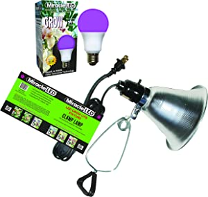 Miracle LED Absolute Daylight MAX Red & Blue LED Grow Lite & Clamp Fixture Kit - Replaces up to 150W - Combines Red & Blue Light for Healthy Indoor Plant Growth and Photosynthesis (604264)