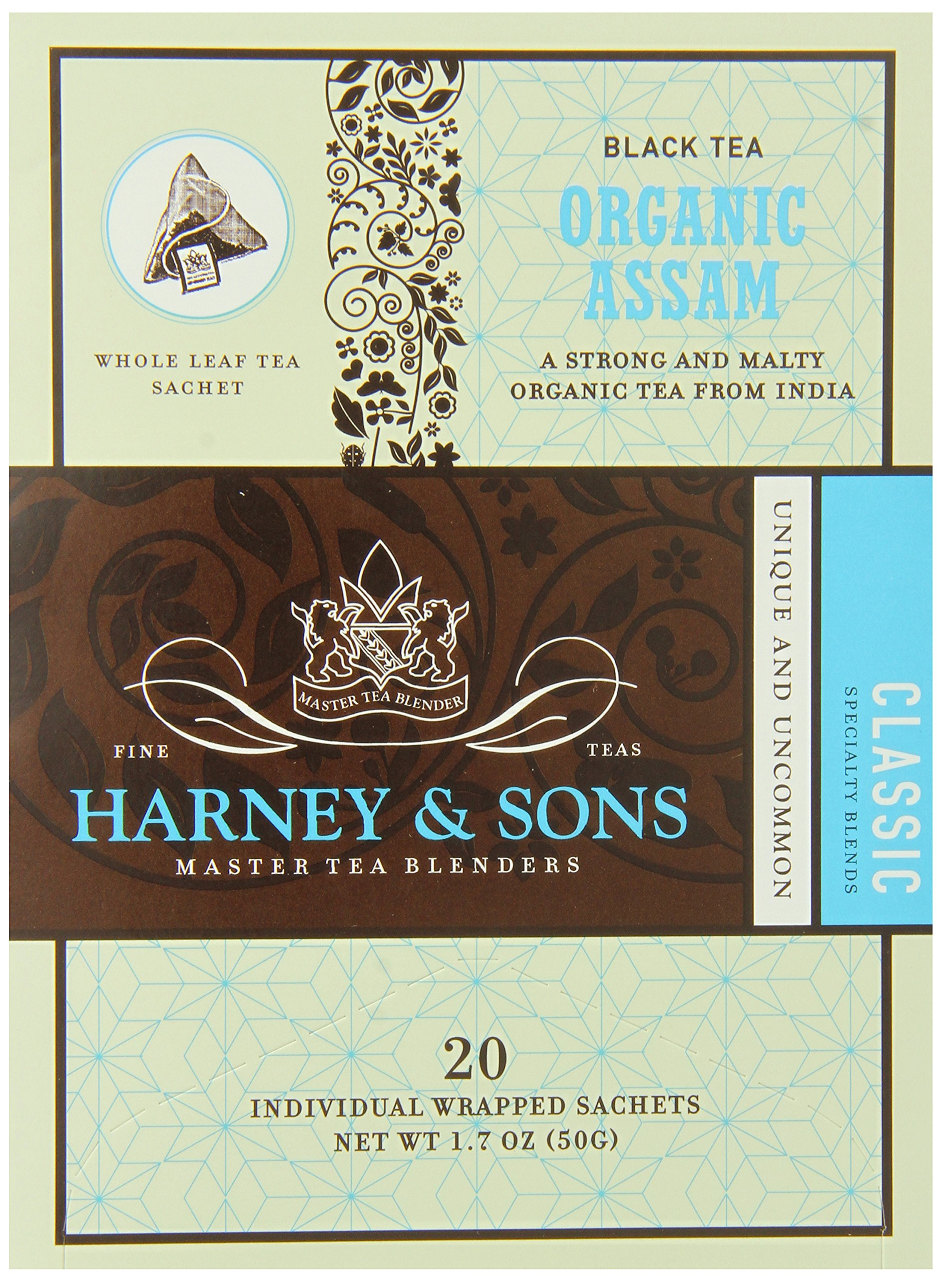 Harney & Sons Black Tea, Organic Assam, 1.7 oz, 20 Sachets (Pack of 6) by Harney & Sons