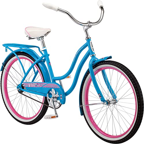 Schwinn Baywood Cruiser Bike, Featuring Steel Step-Through Frame and Single-Speed Drivetrain with Full Wrap Fenders, 24-Inch Wheels