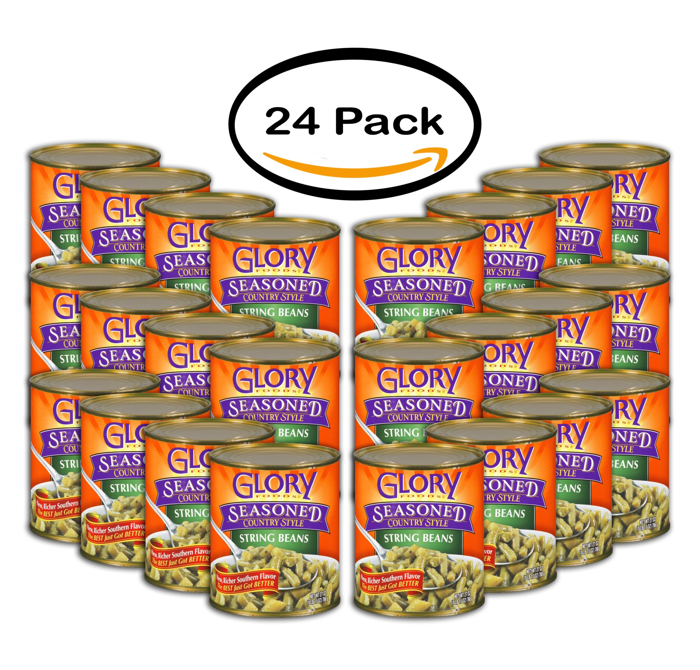 PACK OF 24 - Glory Foods Seasoned Southerny Style Green Beans, 27.0 OZ by GLORY