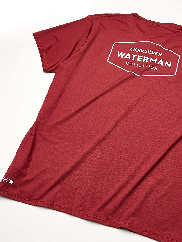 Quiksilver Waterman Mens Gut Check SS Short Sleeve Rashguard SURF Shirt Blue X-Large
