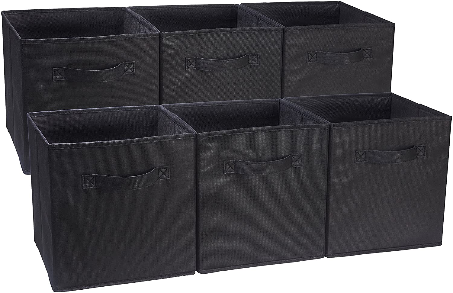 AmazonBasics Foldable Storage Cubes - 6-Pack, Black