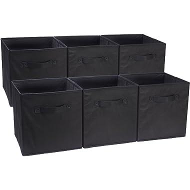 AmazonBasics Foldable Storage Bins Cubes Organizer, 6-Pack, Black
