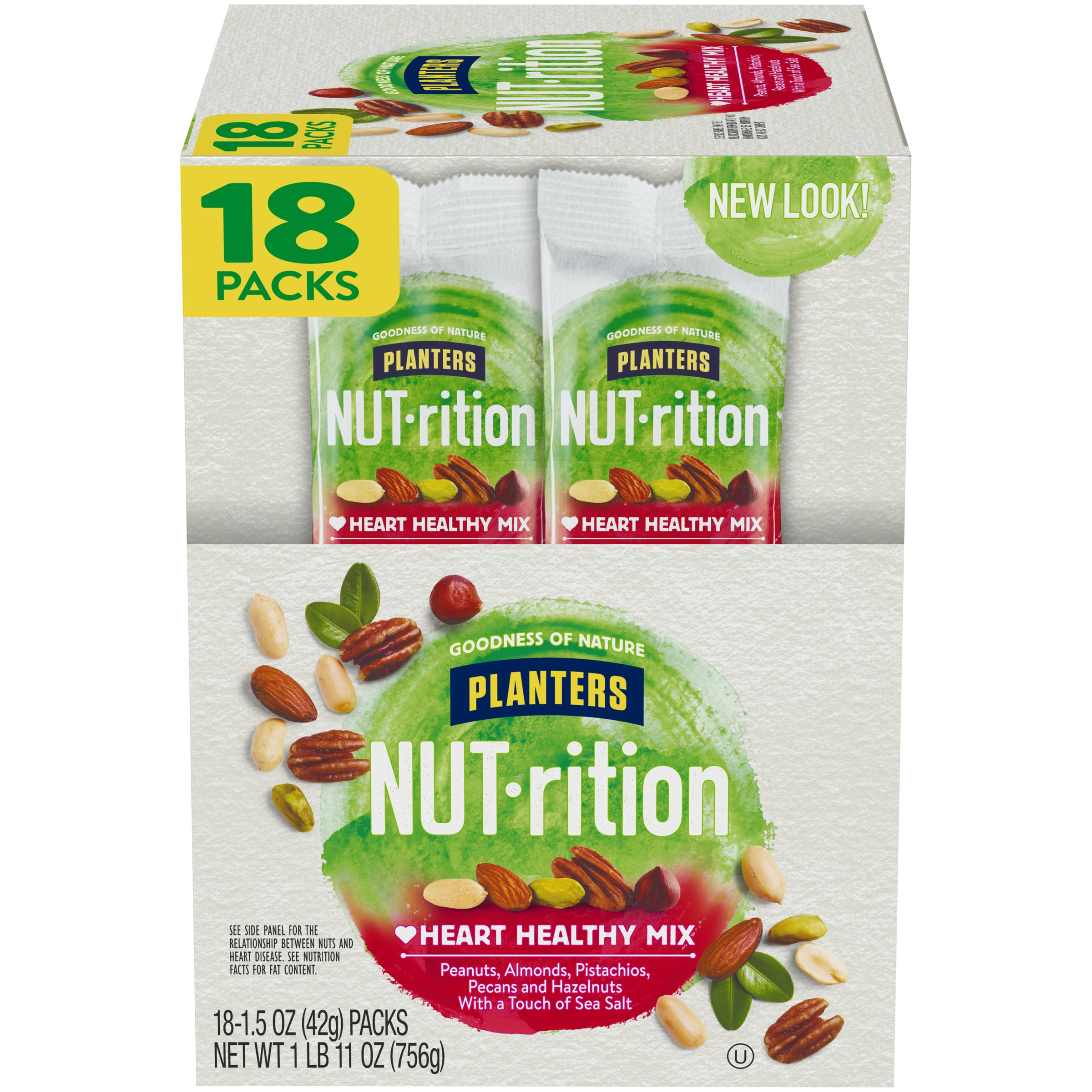 NUTrition Heart Healthy Nut Mix (1.5 oz Bags, Pack of 18) by Planters (Image #1)