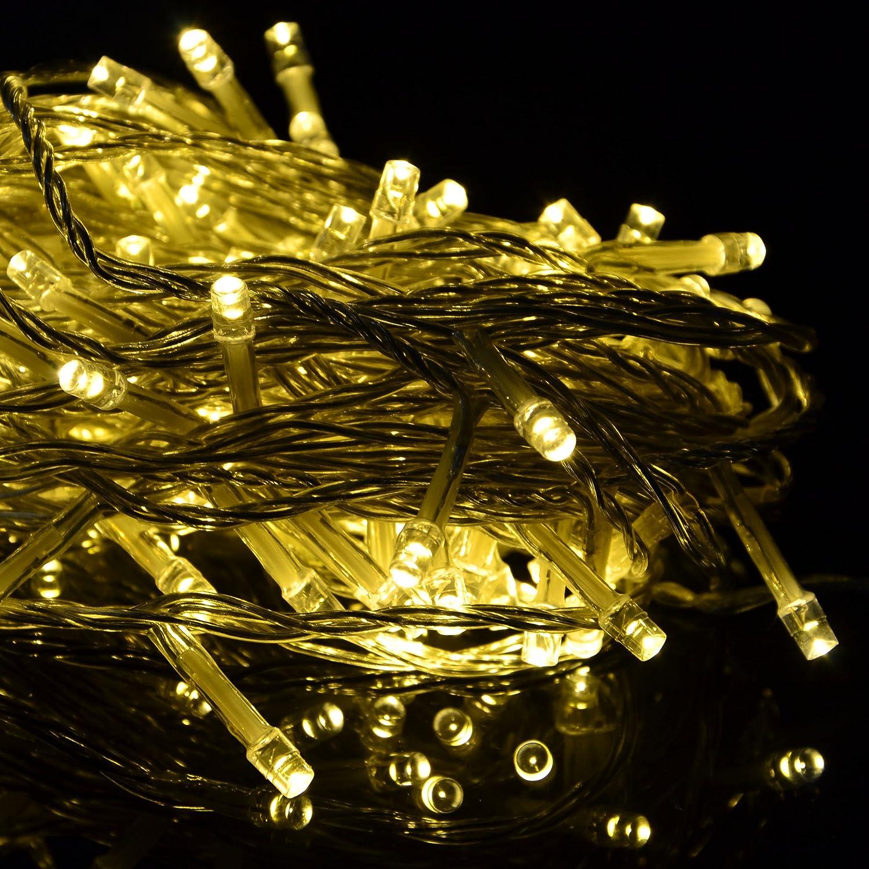 100er LED Lichterkette mit Timer Leuchtfarbe warm weiß transparentes ...