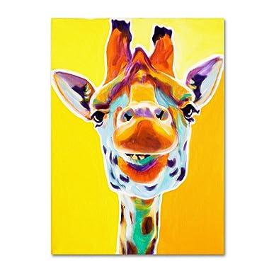 Giraffe No.3 Artwork by DawgArt, 14 by 19-Inch Canvas Wall Art