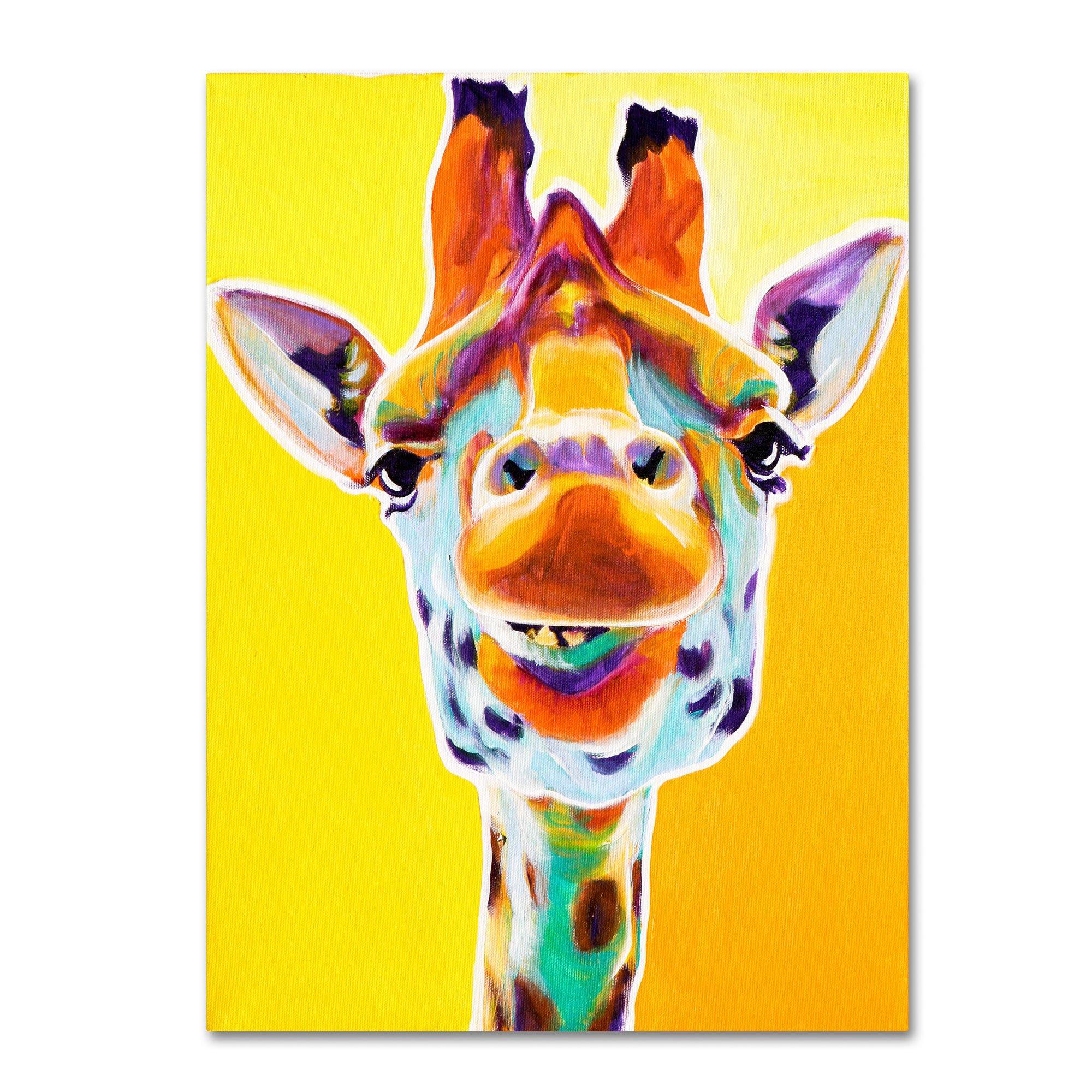 Trademark Fine Art Giraffe No.3 Artwork by DawgArt, 14 by 19-Inch Canvas Wall Art