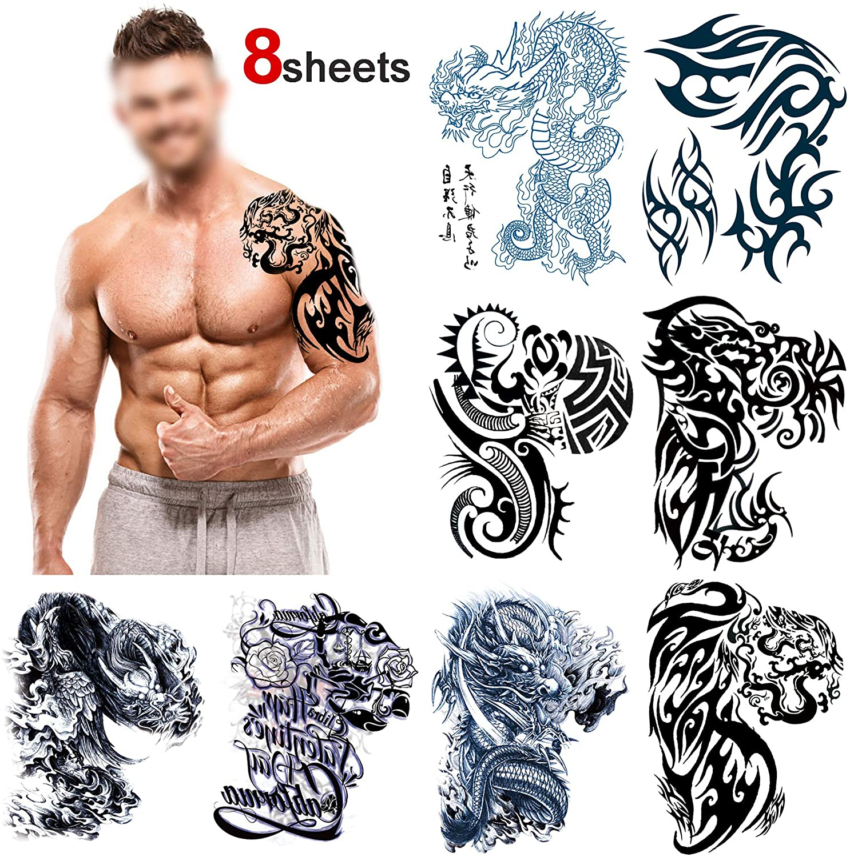 Grandes tribales Tatuajes temporales para adultos hombre(8 hojas ...