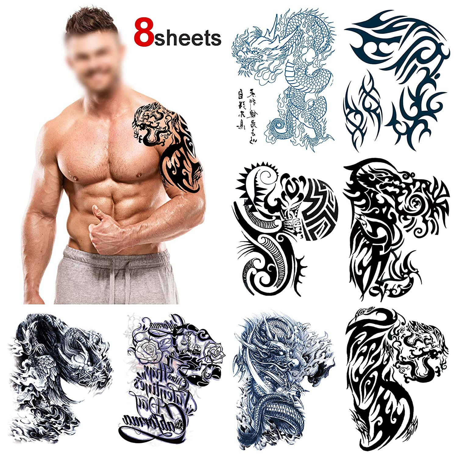 Konsait Large Temporary Tattoos Half Arm Chest Tattoo Men Tribal Totem Tattoo Make Up Body Art Sticker For Halloween Party Supplies Beach Pool Party
