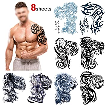 4103839a8 Temporary Tattoos for Adult Men, Howaf 8 Sheets Waterproof Temporary Tattoo  Fake Tattoos Arm Shoulder