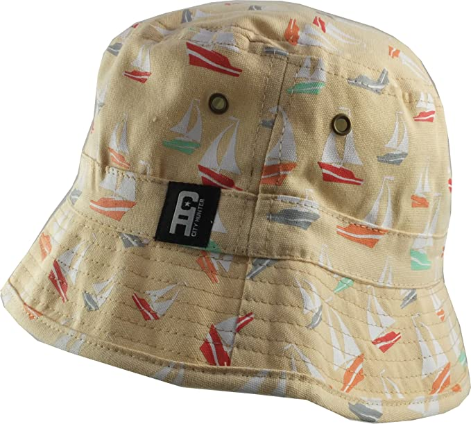 7b7e2db969d City Hunter Men s Nautical Fifties Style Cotton Bucket Hat S M (57Cm) Peach