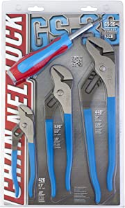 Channellock GS-3S 3 Piece Straight Jaw Tongue and Groove Pliers Set with bonus 6-in-1 CODE BLUE Screwdriver | Laser Heat-Treated 90° Teeth| Forged from High Carbon Steel | Pliers Made in USA