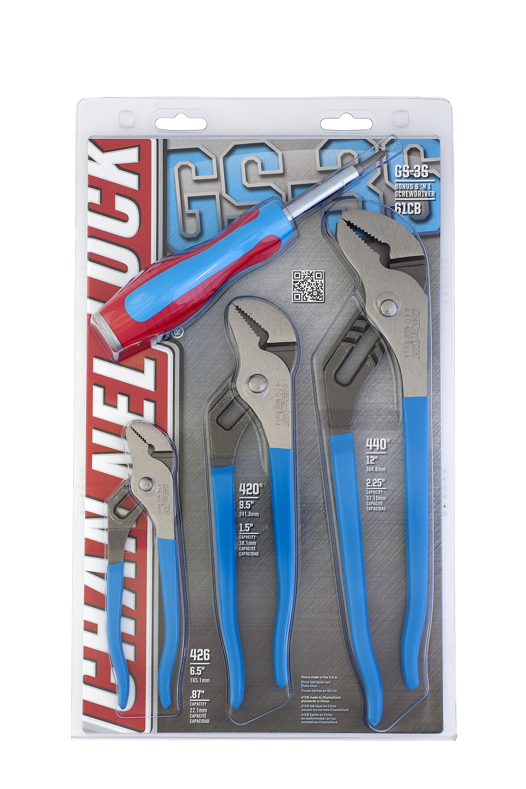 Channellock GS-3SA 4-Piece Tongue and Groove Plier Set