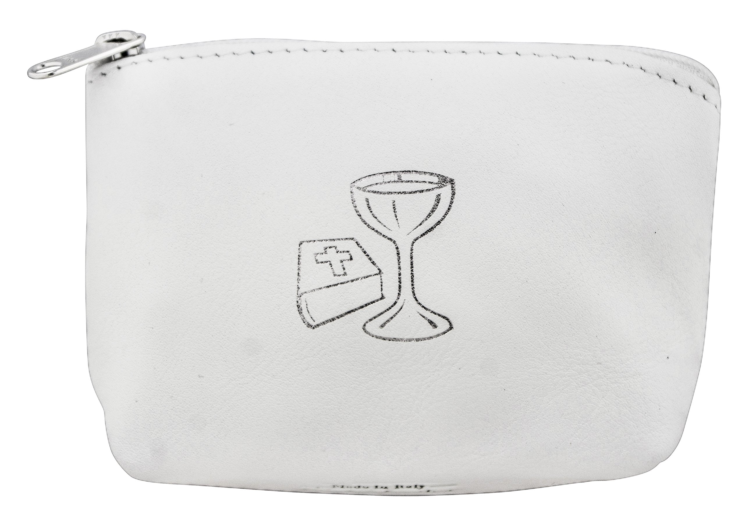 First Communion Rosary Pouch in Italian Leather (White)