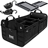 TRUNKCRATEPRO Premium Multi Compartments Collapsible Portable Trunk Organizer for auto, SUV, Truck, Minivan (Black) (ExtraLarge, Black)