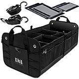 TRUNKCRATEPRO Premium Multi Compartments Collapsible Portable Trunk Organizer for auto, SUV, Truck, Minivan (Black…