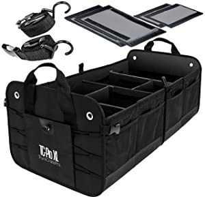 TRUNKCRATEPRO Extra Large Multi Compartments Collapsible Portable Trunk Organizer with Metal Hooks, Recommended for Really Large Loads