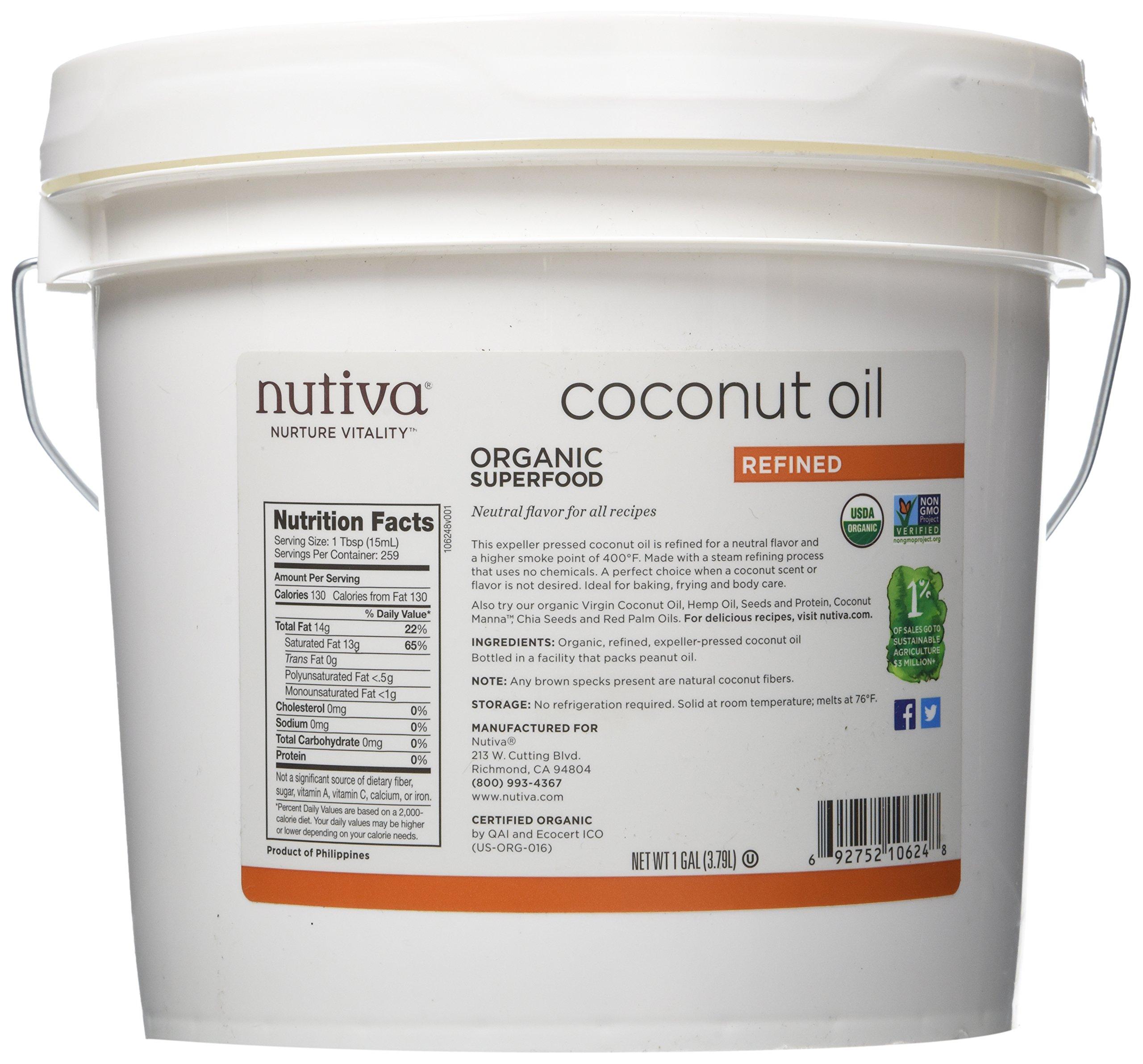 Nutiva Organic, Neutral Tasting, Steam Refined Coconut Oil from non-GMO, Sustainably Farmed Coconuts, 128 Fl Oz
