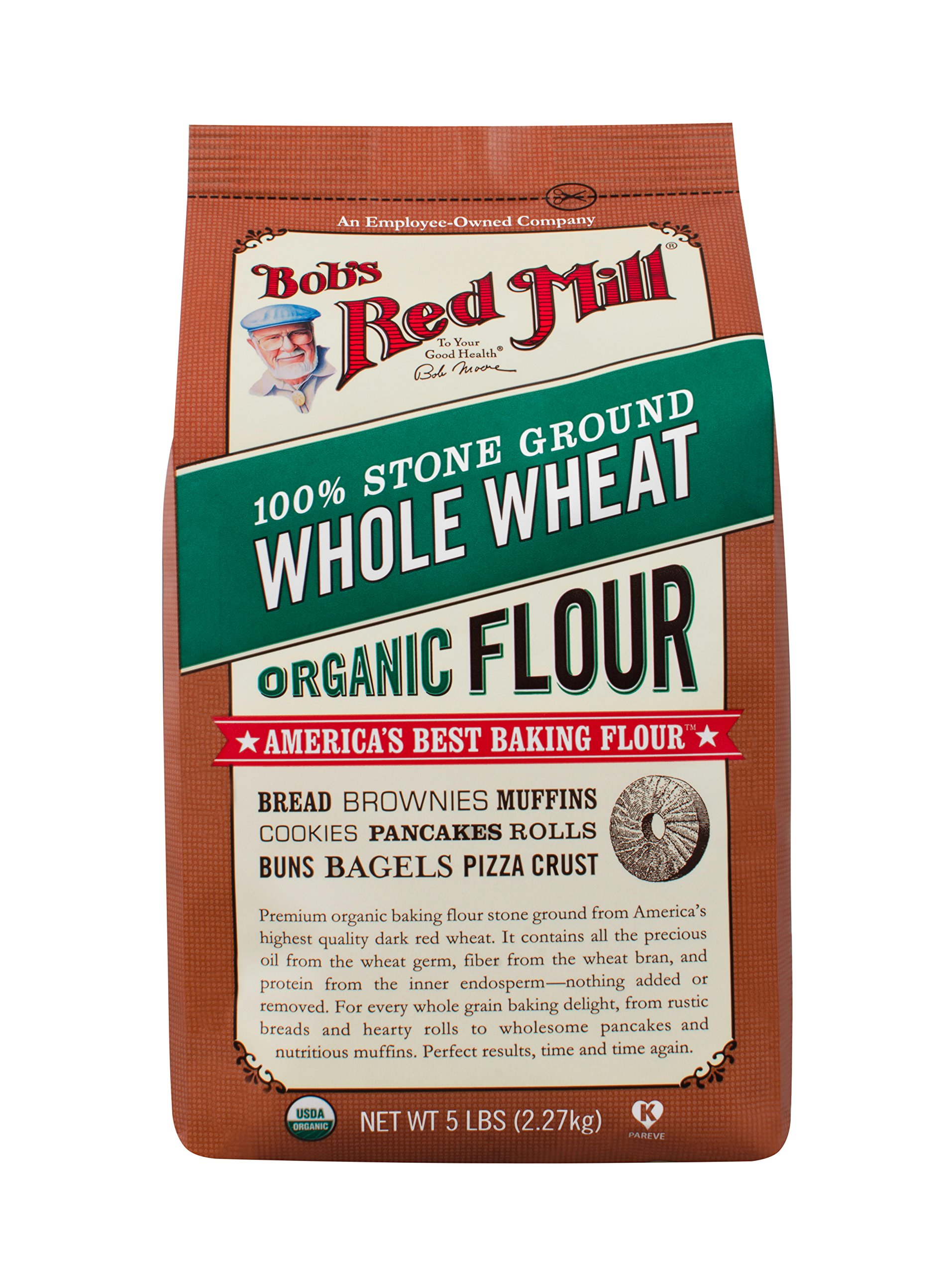 Bob's Red Mill, Organic Flour, Whole Wheat, 5 lb