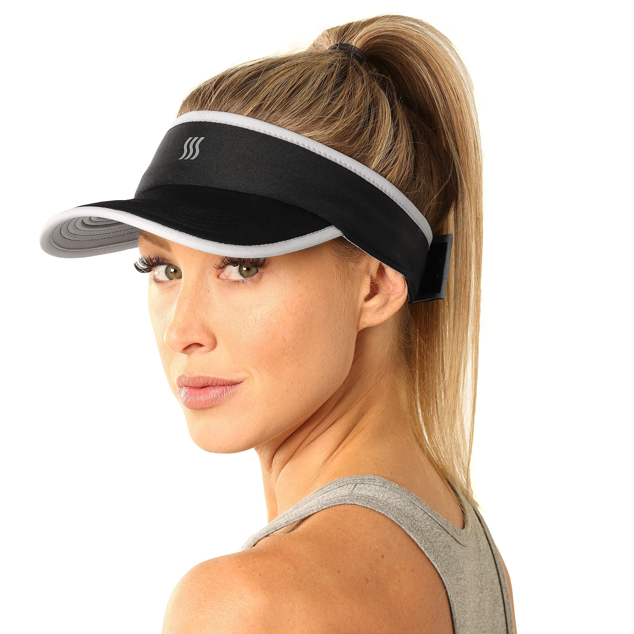 SAAKA Super Absorbent Visor for Women. Best for Running Tennis Golf & All Sports. Soft Lightweight & Adjustable.