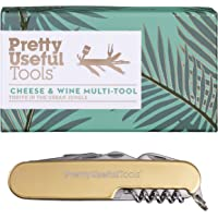 Pretty Useful Tools Detachable 8-in-1 Cheese and Wine Stainless Steel Multi-Tool, One Size, Gold