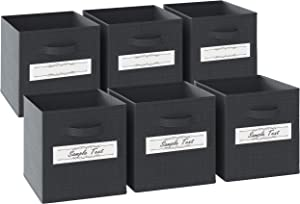 13x13x13 Large Storage Cubes - Set of 6 Storage Bins | Features Label Window 2 Handles | Cube Storage Bins | Foldable Closet Organizers and Storage | Fabric Storage Box for Home, Office (Dark grey)