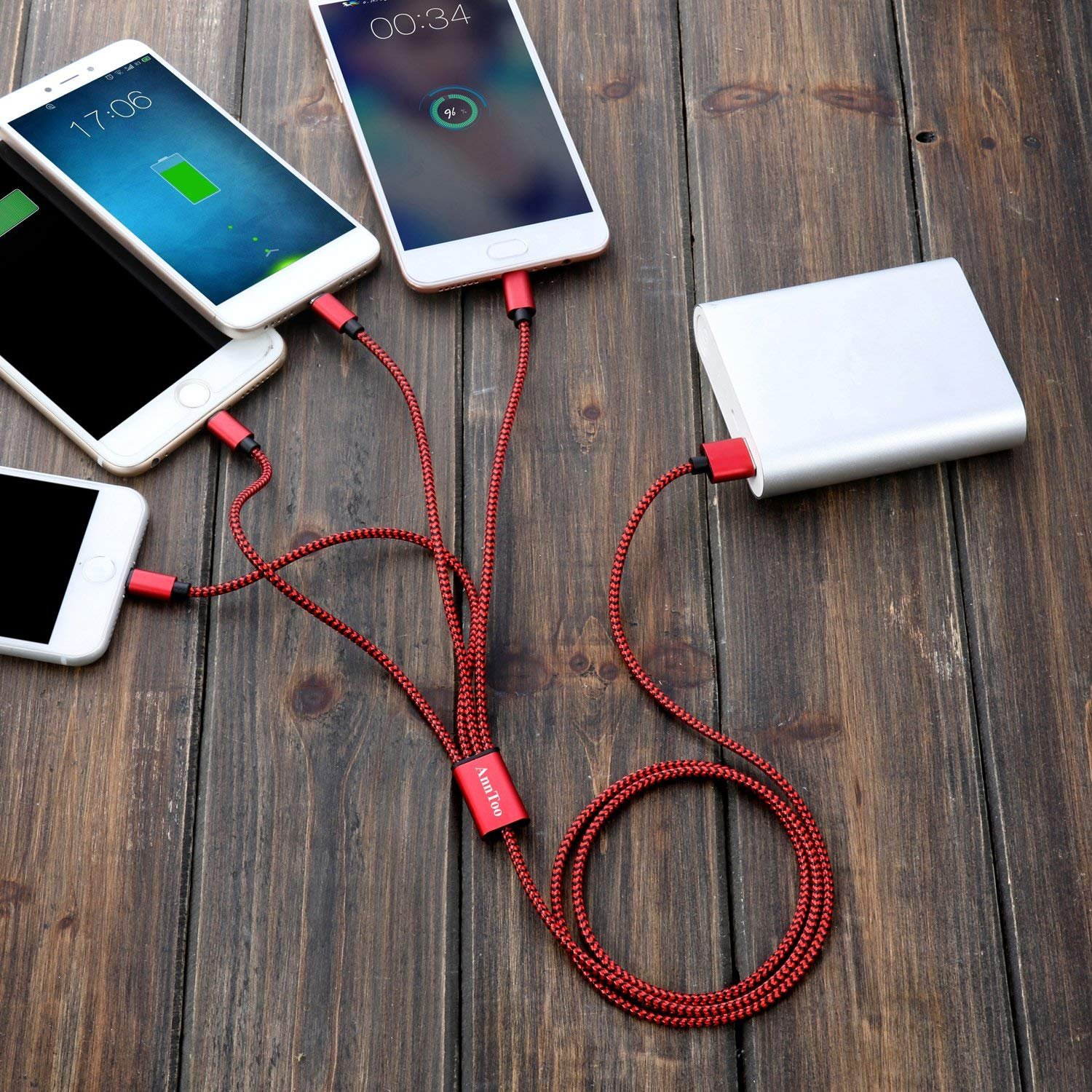 Multi USB Cable AnnToo Multiple USB Charging Cables 3.3 FT 4 in 1 Nylon Braided with Type C Micro USB and Lighting Connectors - Red [Only Charging]