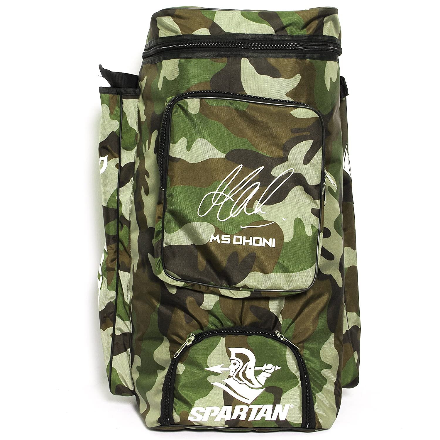 606bd5e785c Buy Spartan Ms Dhoni Cricket Kit Camouflage Backpack- White Print Online at  Low Prices in India - Amazon.in