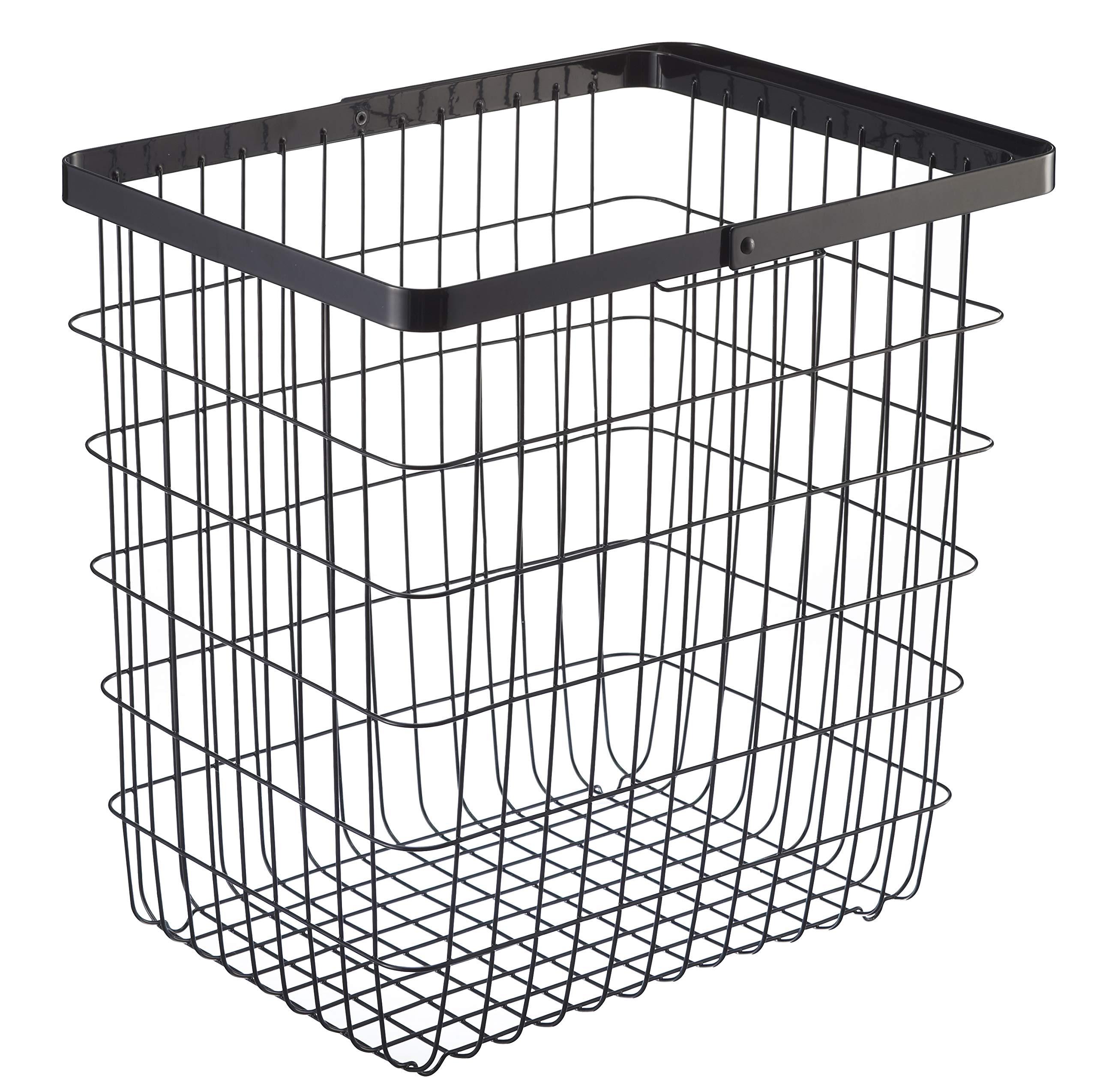 YAMAZAKI home 3163 Laundry Basket Large Storage Hamper, Black