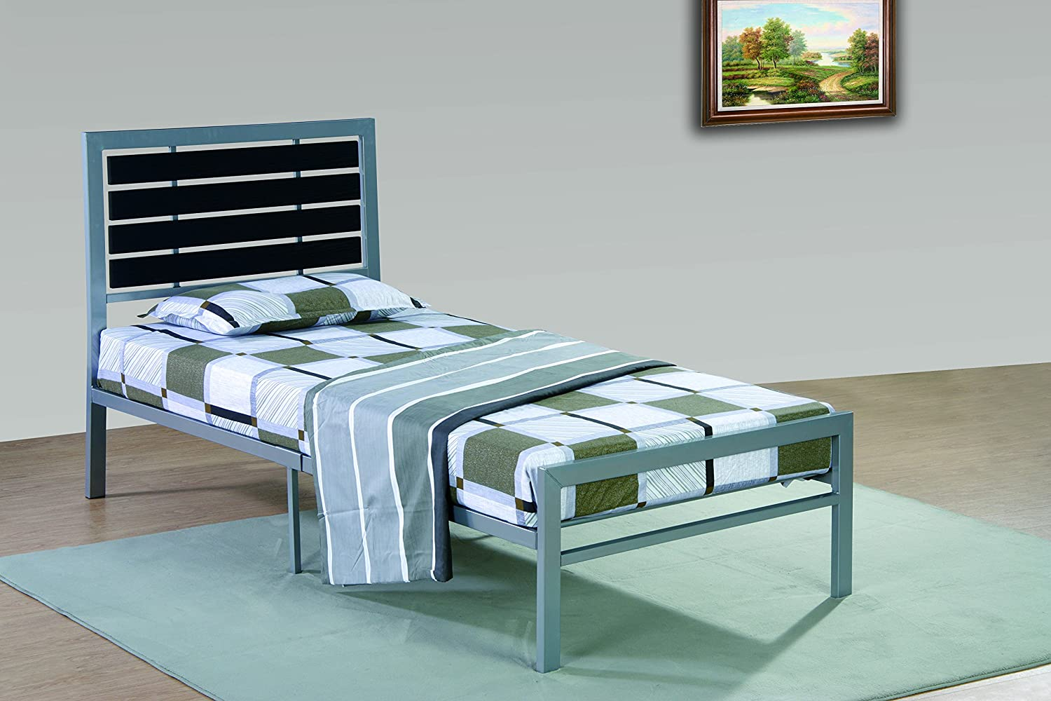Amazon.com: Furniture World Lloyd Contemporary Metal Bed with Ladder ...