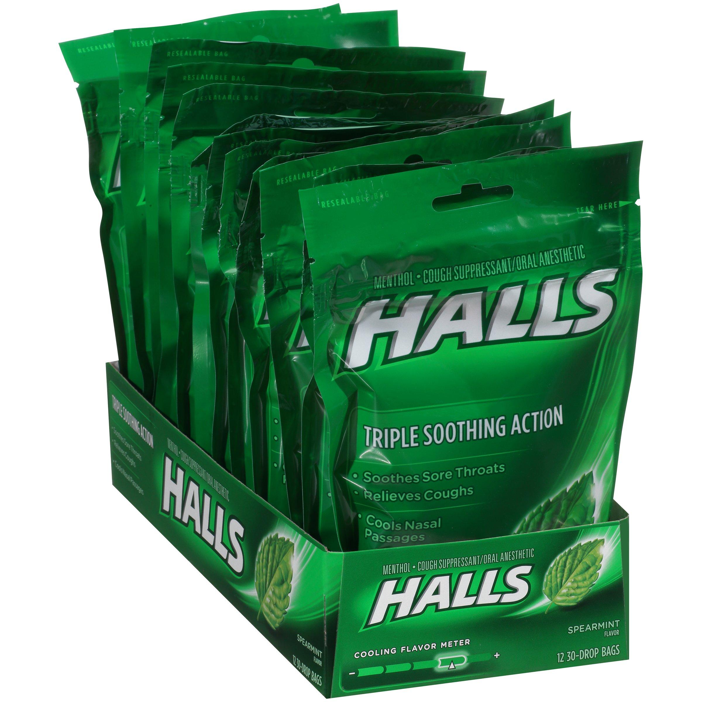 Halls Cough Drops, (Spearmint, 30 Drops, 12-Pack) by Halls
